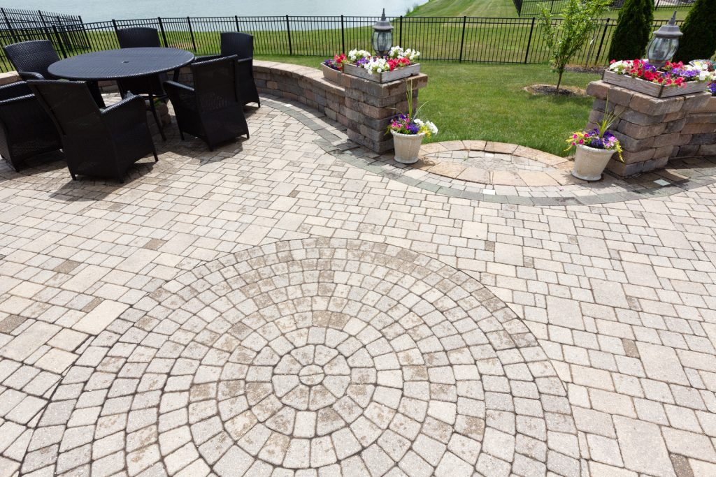 designed concrete brick patio with a beautiful view