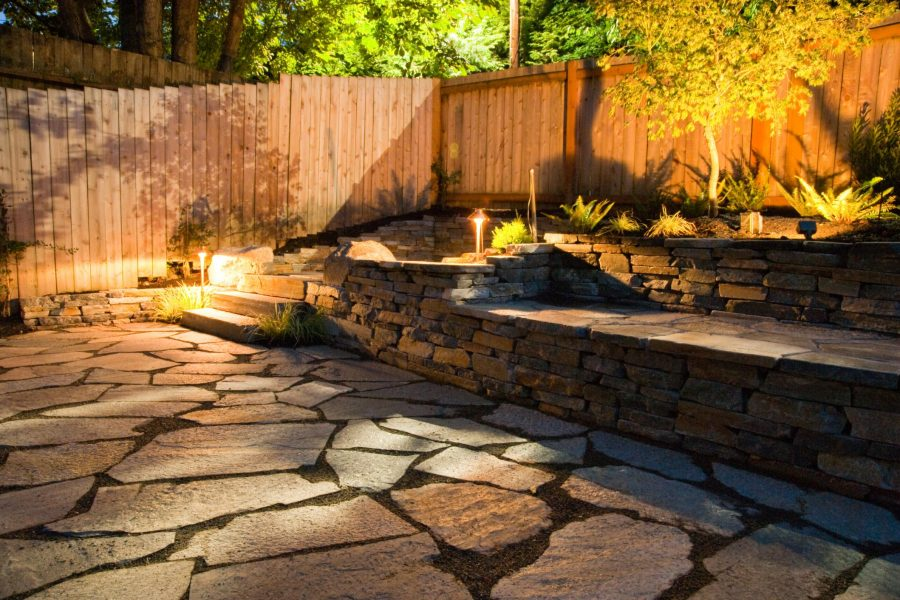 warm cozy brick landscape and wood fences