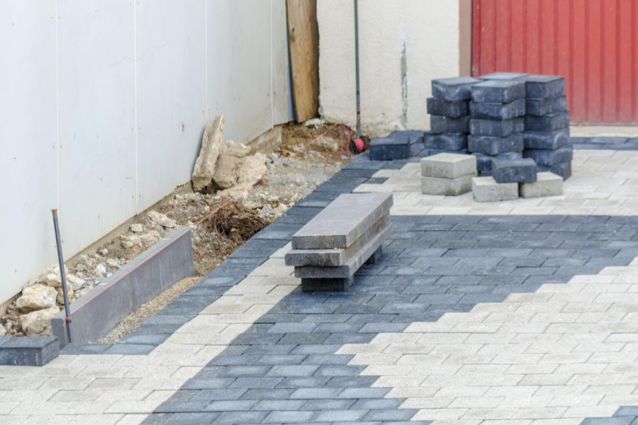 black and white concrete bricks on the floor