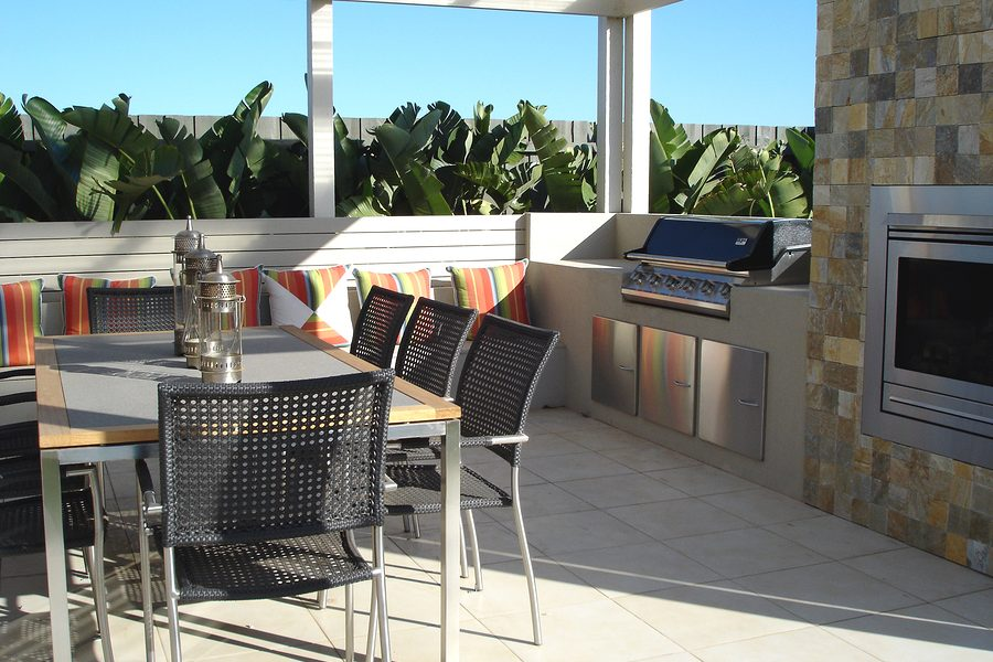 minimalist covered big balcony with kitchen appliances